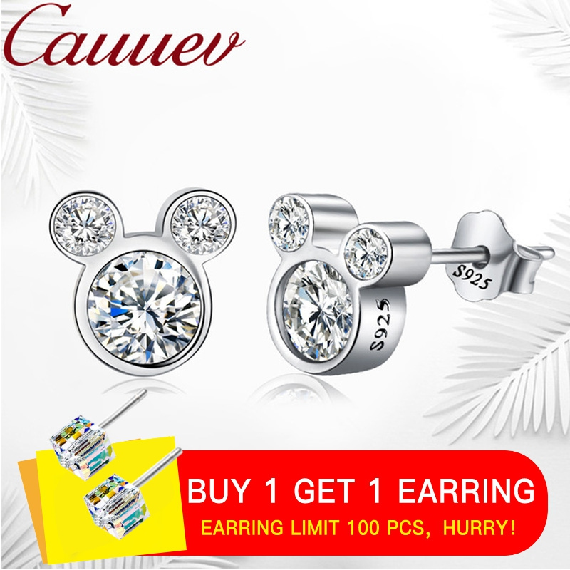 2018 Hot Selling 100% 925 Sterling Silver Cute Dazzling Miky Mouse Stud Earrings  For Women Girl Authentic Original Jewelry Gift2018 Hot Selling 100% 925 Sterling Silver Cute Dazzling Miky Mouse Stud Earrings  For Women Girl Authentic Original Jewelry Gift