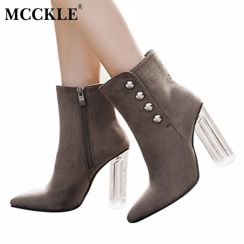 MCCKLE Ladies Zip Rivets Transparent Thick Heel Ankle Boots Female Pointed Toe Slip On Fashion Solid Comfortable High Heels ms noki fashion buckle solid women ankle boots square heel pointed toe ladies booties retro comfortable slip on female botas hot