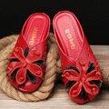 2017 verano zapatos planos de cuero fresco viento nacional deslizamiento inferior suave cómodo sandalias de verano las mujeres embarazadas zapatos szie 35 41