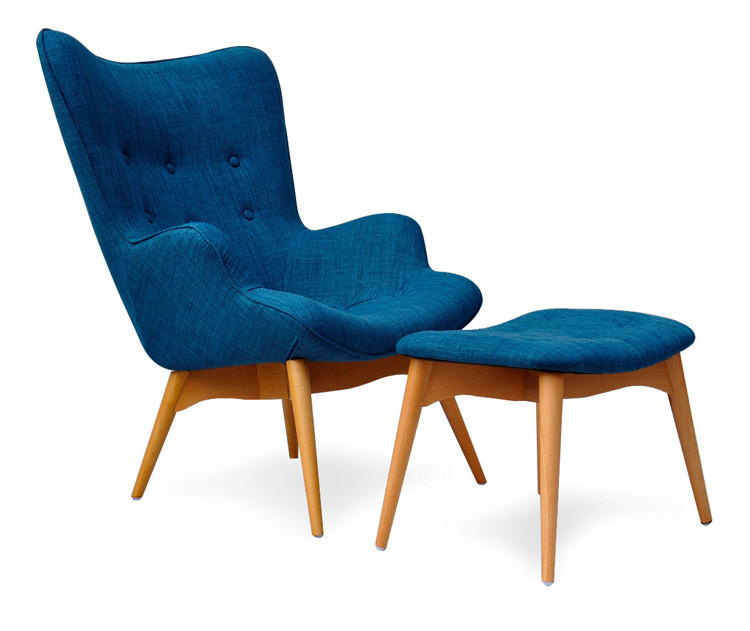 Mid Century Modern Armchair Chair W/Footstool Ottoman