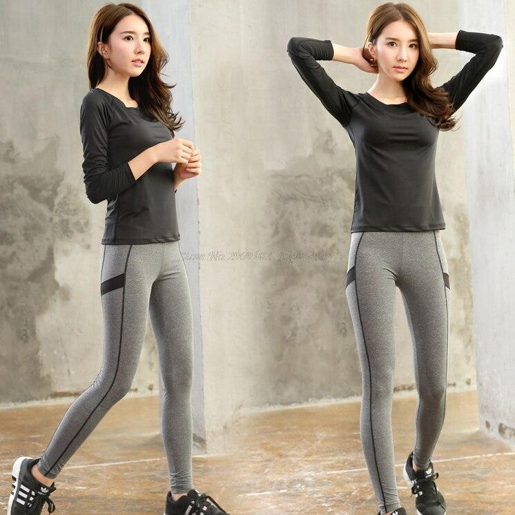 Kompresní prodyšná rychleschnoucí dámská sportovní jóga sada (trička s dlouhým rukávem a kalhoty na budování těla) Big Girl Activewear