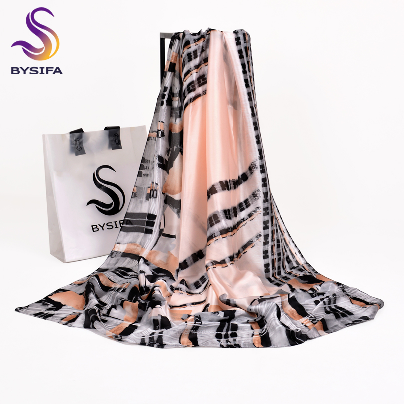 [BYSIFA] Grey Pink Stirped Long   Scarves     Wraps   Ladies Brand Accessories Winter Women Silk Shawl   Scarf   Summer Beach Cover-Ups