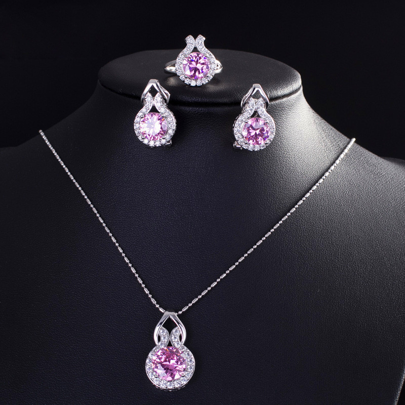 ZOURU Brand High Quality Hot White Gold Plating Big CZ Stone Paved Necklace Earring Ring Set
