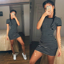 2016 Summer Fashion Kylie Jenner Short Sleeve Black And White Striped Dresses Casual Elegant Sheath Slim Dress
