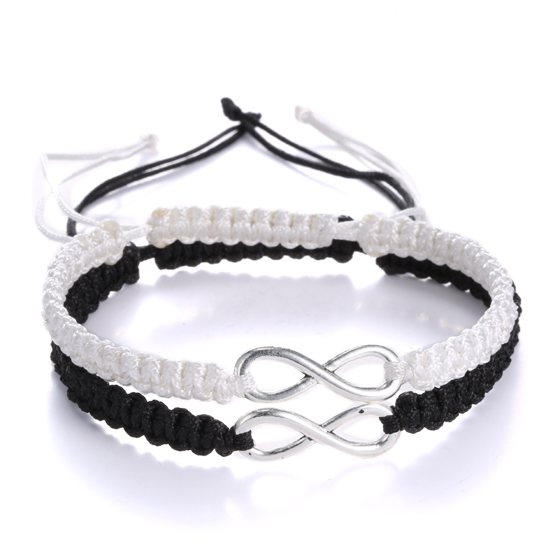 2 pcs New Retro Infinity Handmade Bracelet Set Friendship Bracelet Set Love Couples Bracelets & Bangles Set Infinity Jewelry