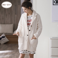 Autumn And Winter Women S Coral Fleece Sleepwear Comfortable Female Long Sleeve Flannel Thickening Outerwear Lounge