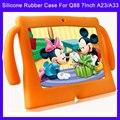 Lindo Suave Cubierta de la Caja del Gel del Caucho de Silicona Para Q88 Android Niñas niños Kids Tablet PC