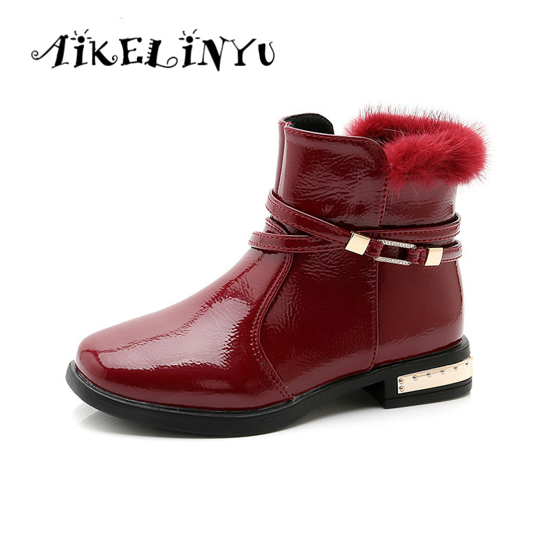 Winter Teenage Girls Fashion Boots 2019 New Children Red