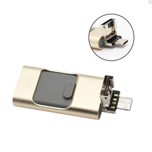 Más nueva 3 en 1 OTG USB Flash Drive de 64 gb de memoria metal pen drive para apple android dispositivos móviles de windows pc/mac