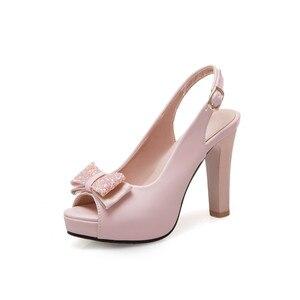 Image 4 - YMECHIC 2019 Летняя мода с бантом бабочкой с открытым носком туфли на ремешке женские белые свадебные туфли для невесты женские туфли лодочки для вечеривечерние