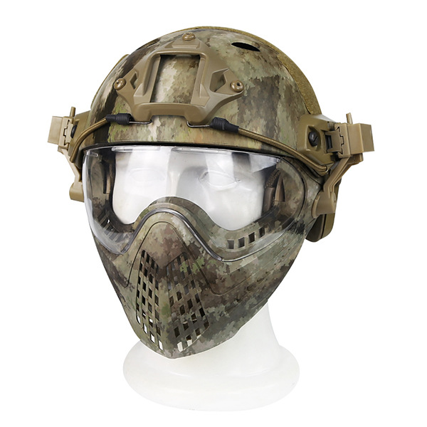 2018 New Tactical Integrated Helmet with Removable Face Mask and Goggles Airsoft Paintball WarGame CS Tactical hunting helmet kryptek green pj type fast molle tactical helmet combined with full mask and goggles for airsoft paintball cs hunting