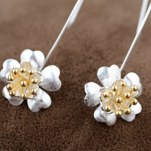 Drawing gold earrings S925 sterling silver jewelry wholesale Silver Bauhinia exquisite Earrings style female models