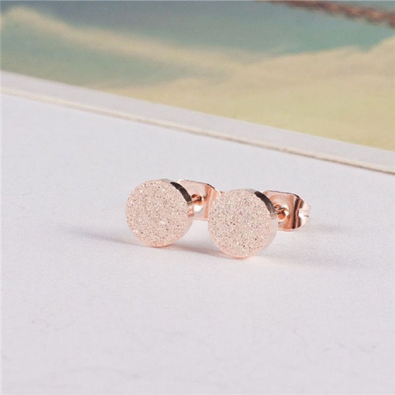 Earings Fashion Body Jewelry Women Stainless Steel Rose Gold Filled Studs Earrings 2017 Minimalist Orecchini Donna Bijoux Femme