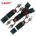 Couro de alta Qualidade Masculino suspensórios cintas Elásticas dos homens Verdes Exército Y-back Forma 6 clips-on suspensórios adulto correias 3.5 cm 110 cm