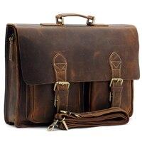 Top Grade Handmade Mens Real Leather Briefcase Vintage Style Messenger Shoulder 14 Inch Laptop Bag Case