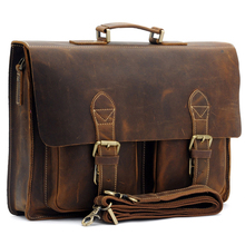 Top Grade Handmade Mens Real Leather Briefcase Vintage Style messenger Shoulder 14 inch Laptop Bag case handbag tote  B1061