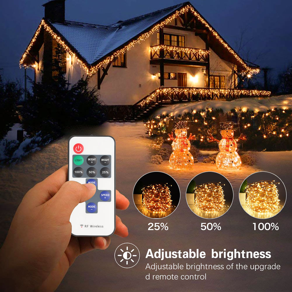 LED String lights 50M Silver Wire Garland Home Christmas Wedding Party Decoration Powered by DC12V5A with Remote Control