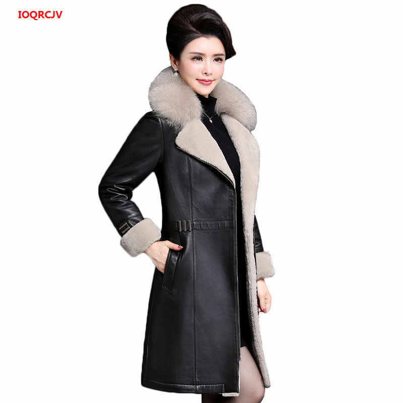 53e34ce72e2 High Quality Women Winter Warm Leather Jackets Female Black Faux Fur Long  Coat Lady Slim Outerwear