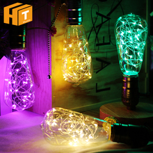 LED Bulb E27 ST64 G95 Colorful Flashing / Warm White Red Green Blue Yellow Purple Silver String Decoration Light.