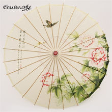 CHUANGGE Handmade Oiled Paper Umbrella Bamboo Wooden Rain Umbrella Women Classical Japanese Chinese Style Guarda Chuva(China)