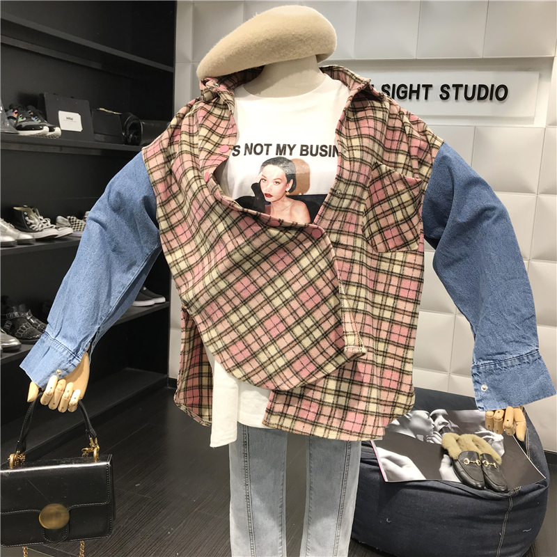 Vintage Woolen Plaid Stitching Jeans Long Sleeve Shirts  1