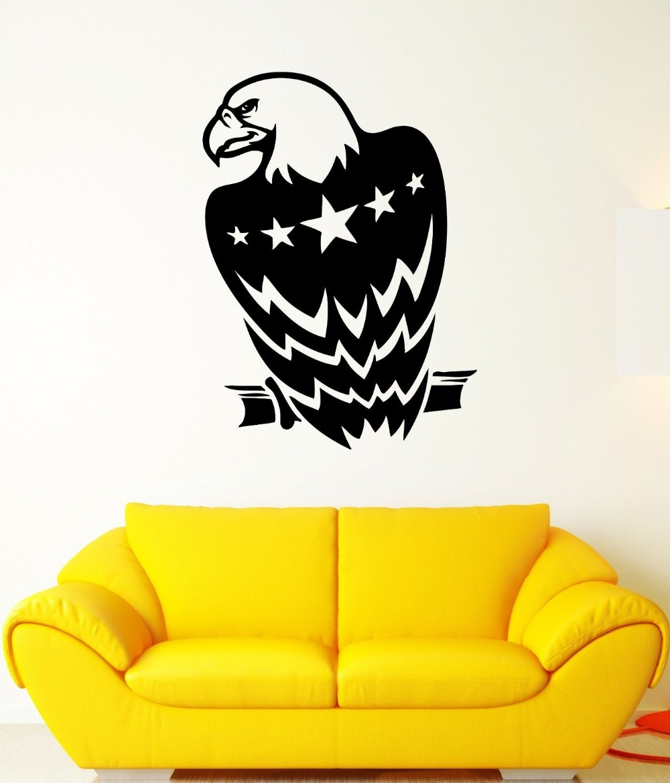 Wall Decal Eagle Birds America Flag Star Symbol Mural Vinyl Decal