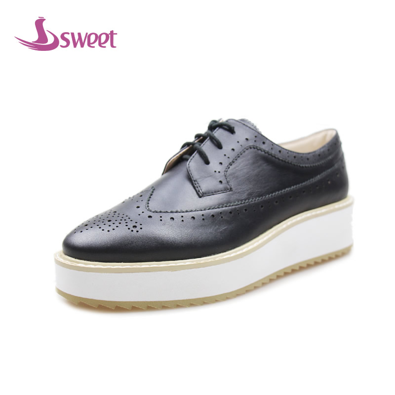 sweet Brand womens shoes woman flats Spring/Autumn Brogue Shoes Genuine Leather Lace-Up Round Toe Solid Rome LeisureA3 plus size 34 41 black khaki lace bow flats shoes for womens ds219 fashion round toe bowtie sweet spring summer fall flats shoes