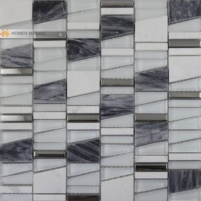 Free Shipping! Unique Design Wall Mosaic Tiles, Glass, Marble Mixed Metal Mosaic  Living