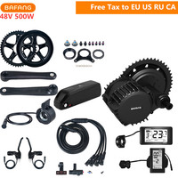 Bafang 8fun 48V 500W BBS02B Mid Drive Motor C961 C965 Kits With 48V 13AH Lithium Battery For Electric Bicycle Conversion Kits