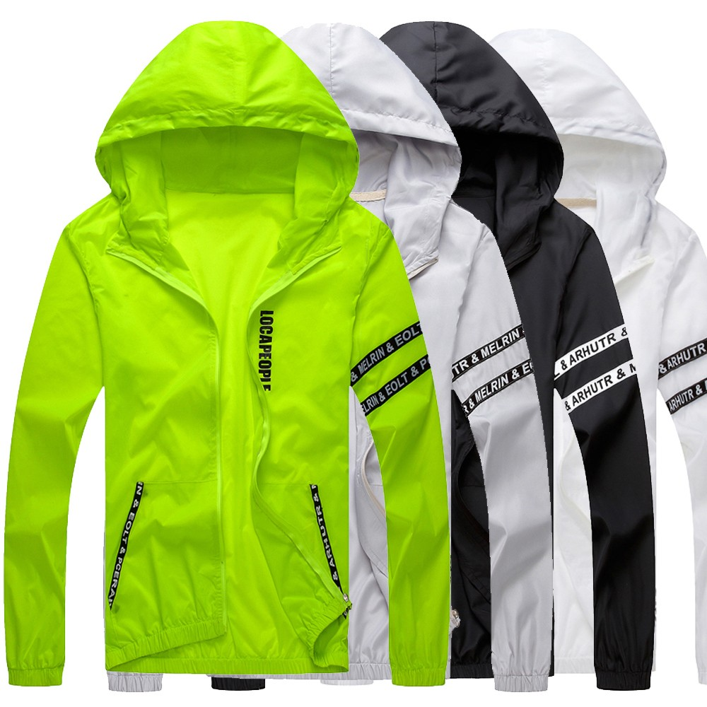 Jacket Outdoor Sportswear Coats Waterproof Breathable Windbreaker Mens Hood Lightweight title=