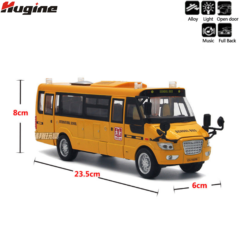 Alliage Moulé Sous Pression Autobus Scolaire 5 Ouvert Conceptions Pull Back Action Light & Sound Navette Bus Véhicule Modèle Enfants Jouets Passe-Temps enfants Bus Jouets