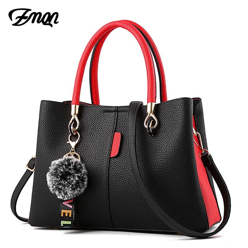 ZMQN Handbag For Women 2018 Luxury Handbags Women Bags Designer Ladies Shoulder Bag Crossbody Patchwork Hairball Bag Female B716