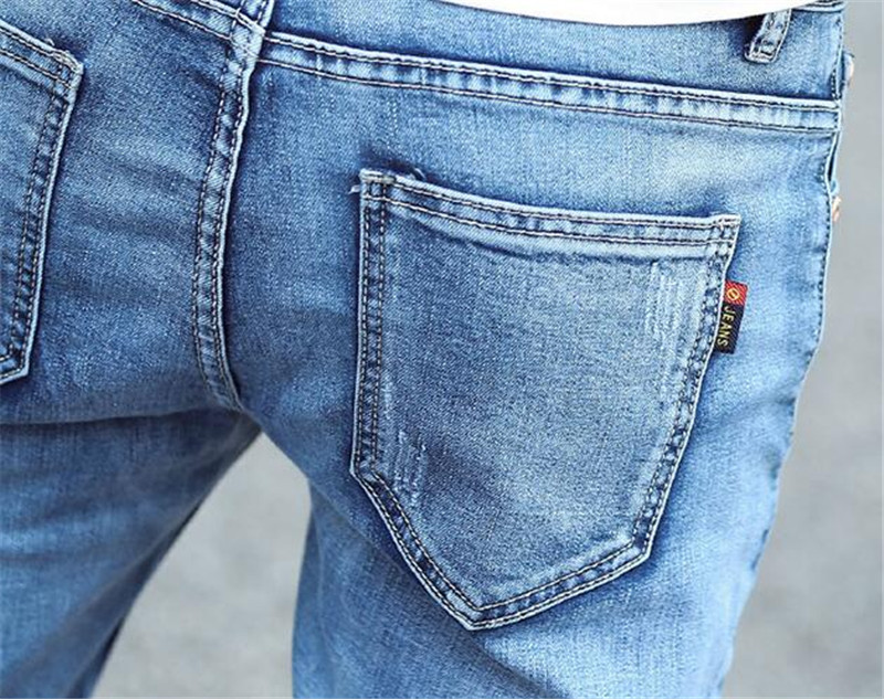 New fashion light blue stitching jeans male, Casual Denim Jeans Slim