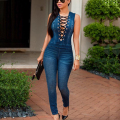 Sexy Women Lace Up Jumpsuit Casual Bandage Bodycon Denim Playsuit Pants