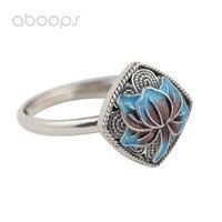 Chinese Style 925 Sterling Silver Enamel Lotus Flower Filigree Square Open Ring For Women Girls Adjustable