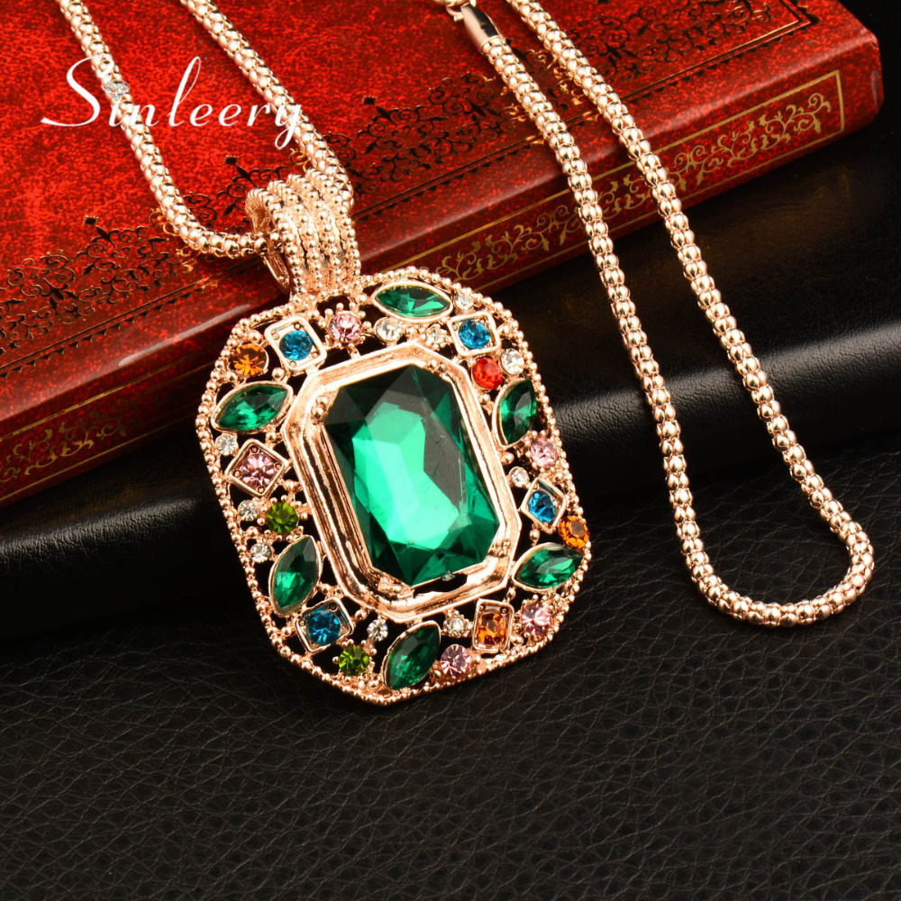 SINLEERY Vintage Big Square Green Rhinestone Colgante Collar Largo Cadena Nuevo Collar de Moda Boho My285 SSB