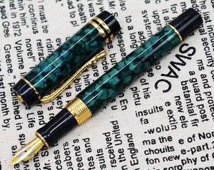 Image 3 - Мраморная ручка для целлюлоидного фонтана 22KGP, средний наконечник для письма, Подарочная чернильная ручка, янтарные/зеленые/красные цветы, приятный узор с клипсой под крокодила