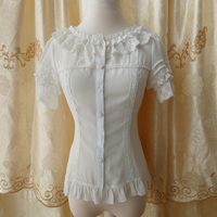 White Chiffon Lace O Neck Ruffled Slash Neck High Quality Spring Autumn Women S Shirts Short