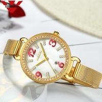 NIBOIS Luxury Women Watch Ladies Fashion Gold Alloy Bracelet Quartz Watches Casual Lady Waterproof Wristwatch Relogio Feminino