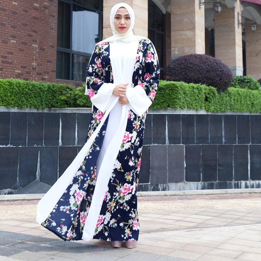 L'été Moyen Lâche Imprimée Cardigan Non Eid orient O Musulmanes Hijab Burqa No À Longue Abaya Photo Mode Manches Femmes Longues Robe cou OTklZwPXiu