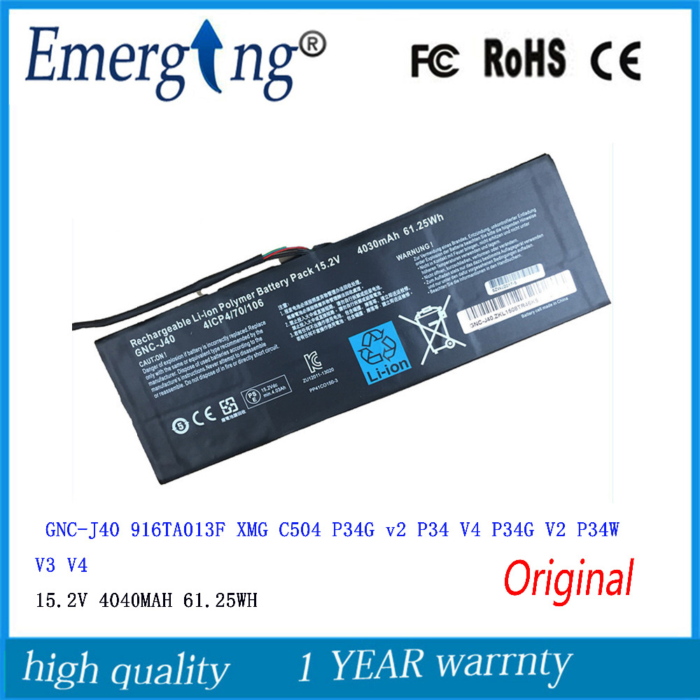 15.2V 61.25WH New Laptop Battery For GIGABYTE GNC-J40 961TA013F P34W P34K P34F P34G V2 V3 V4 V5 V7