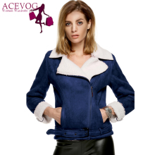 ACEVOG New Style Women Autumn Winter coat Fleece Jacket Fashion Long Sleeve Cool Faux Suede Leather Street-wear Outerwear 2017
