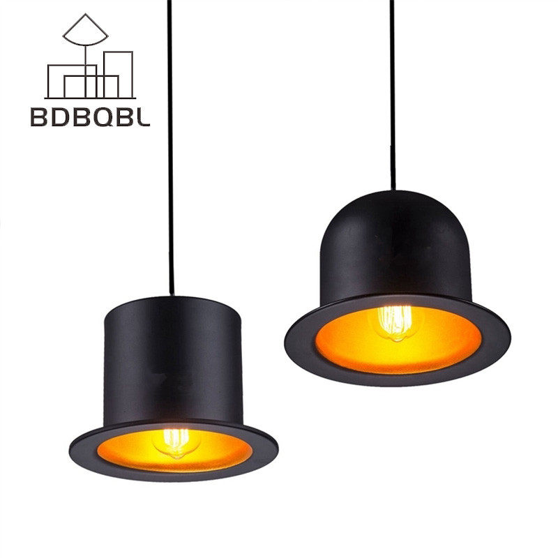 BDBQBL Retro Hats Pendant Lamp Aluminum Gentleman Top Hat LED Pendant Lights AC 90-260V Hanglamp For Dining Room Bedrooms acryl annulus pendant lights for dining room ac 90 260v lamparas led lamp loft style lustre pendente luminaire suspendu hanglamp