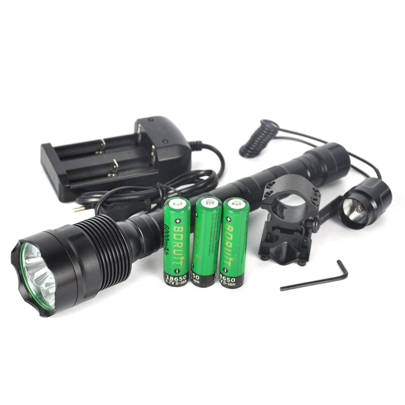 LED Tactical Flashlight  6000 Lm 3T6 5-Mode 3 LED Torch linterna Self Defense + 3x 18650 battery+charger+Mount+Rat switch new klarus xt11gt cree xhp35 hi d4 led 2000 lm 4 mode tactical led flashlight free usb port and 18650 battey for self defence
