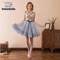 Scoop Neck Sheer Bodice With Orchid Embroider Short Homecoming Dress Mini Cocktails Dresses Party Dress For