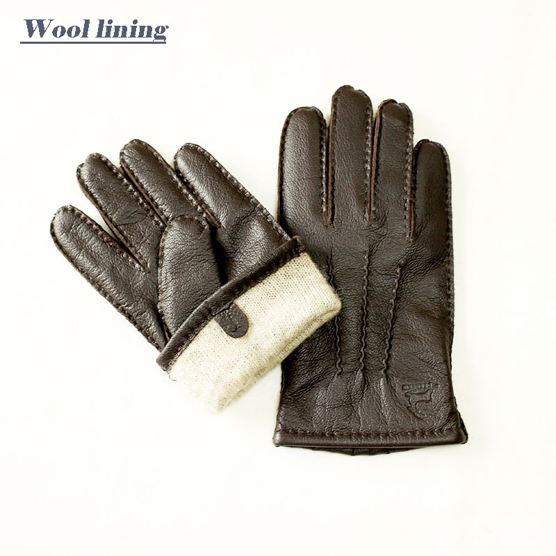 Image 5 - Guantes Winter Gloves Leather Gloves Men All Handmade Deerskin Lining Stripes Style Soft Delicate Price Concessions Direct-in Men's Gloves from Apparel Accessories on AliExpress