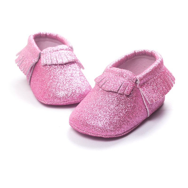 Baby Girls Shoes Bling Bling Gold Party Tassel Toddler Moccasins First Walkers PU Leather Infant Toddler Soft Sole Crib Shoes