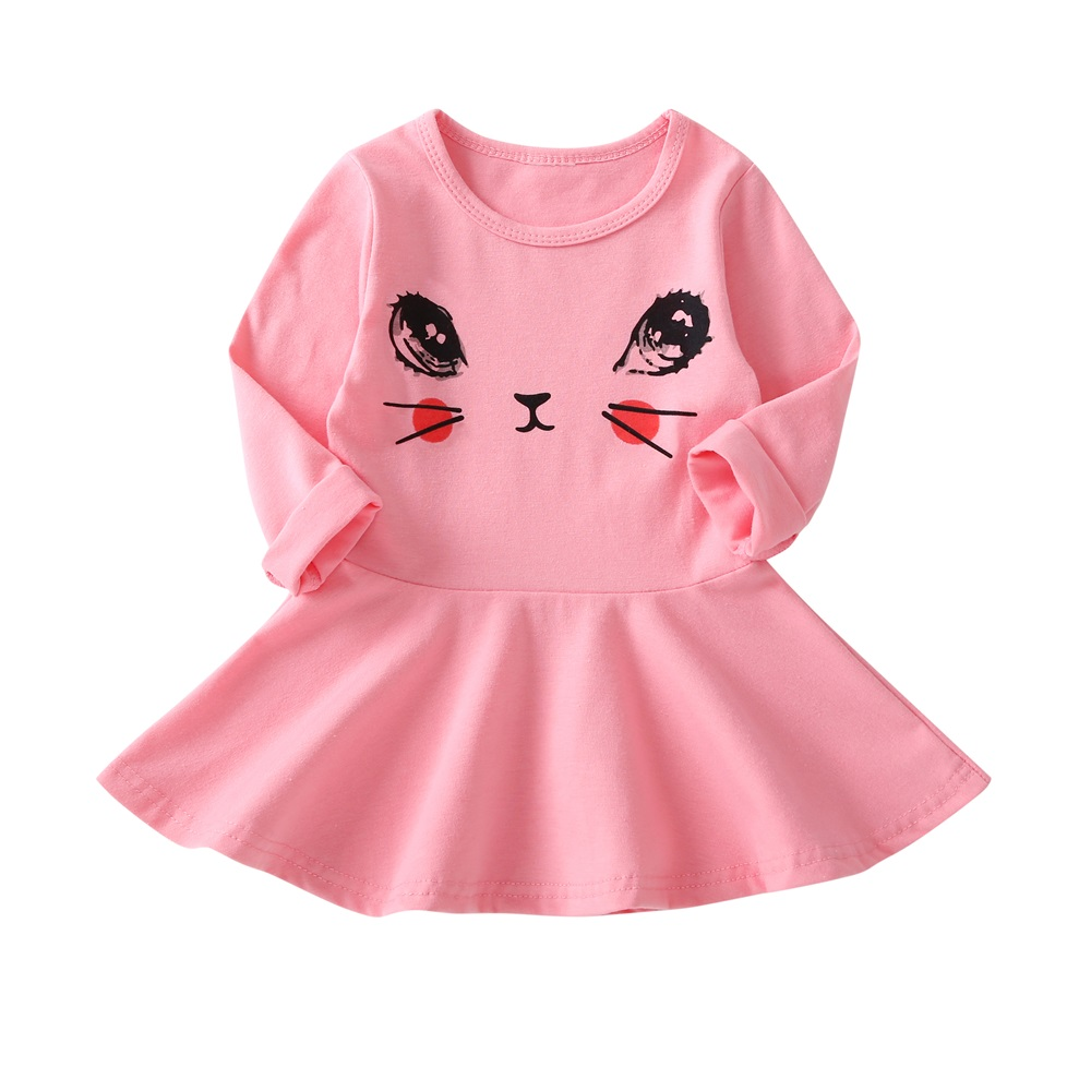 Cat Print Children Long Sleeve Cartoon baby girl Cotton Party Dresses for kids