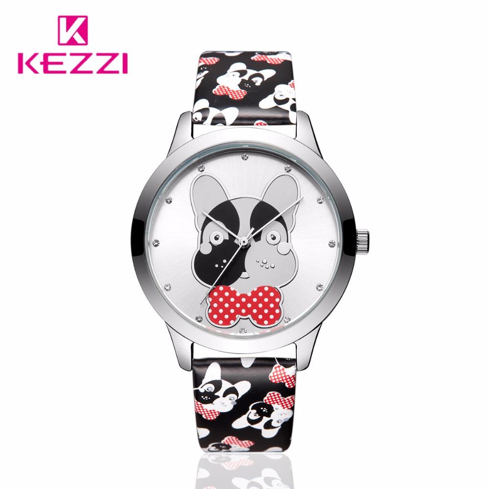 Prix pour KEZZI Nouveau Mode Montre Femmes En Cuir Mignon Chien Motif Casual Quartz Montre-Bracelet Fille Étudiants Populaire Étanche Robe Montre