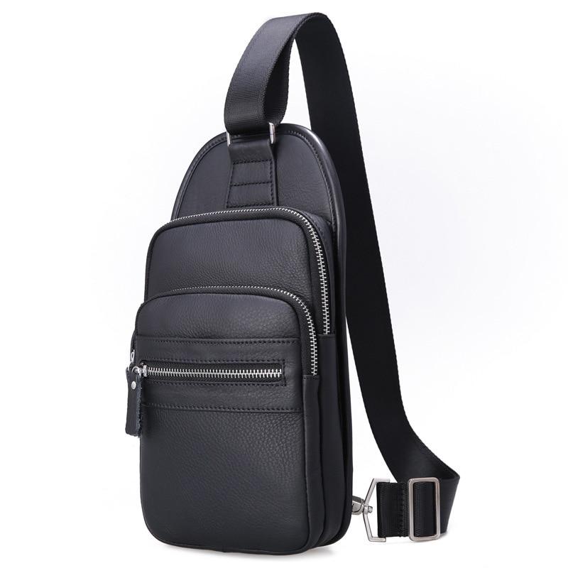 Men Bag Single Shoulder Bags Back Strap Genuine Leather Chest Bag Brown Vintage Style Messenger Crossbody Bag Men Chest Packs